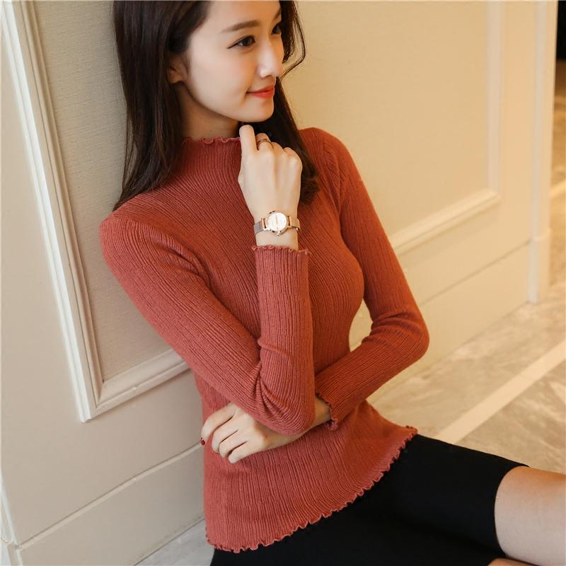 2019韓版秋冬新款半高領打底衫女毛衣長袖套頭短款修身內搭針織衫