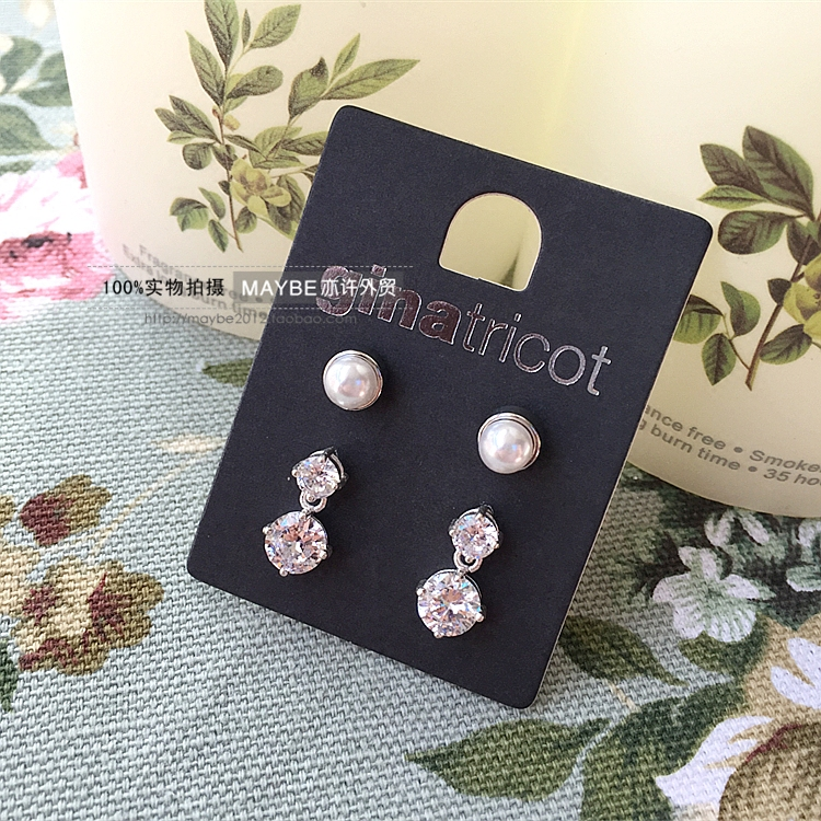 [yixujia] Sweden ginatric * t pearl zircon exquisite female earrings earrings 2 pairs recommended