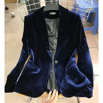 欧美金丝绒西装外套2018秋装丝绒小西装显瘦修身天鹅绒西服女上衣