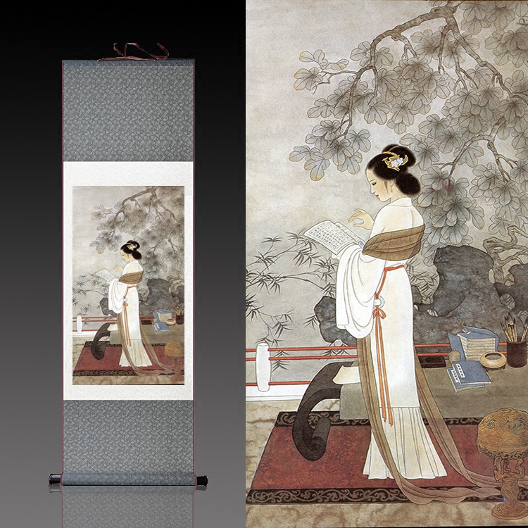 仕女读书学院办公室装饰挂画卷轴画丝绸国画仿古卷轴定制丝绸壁画