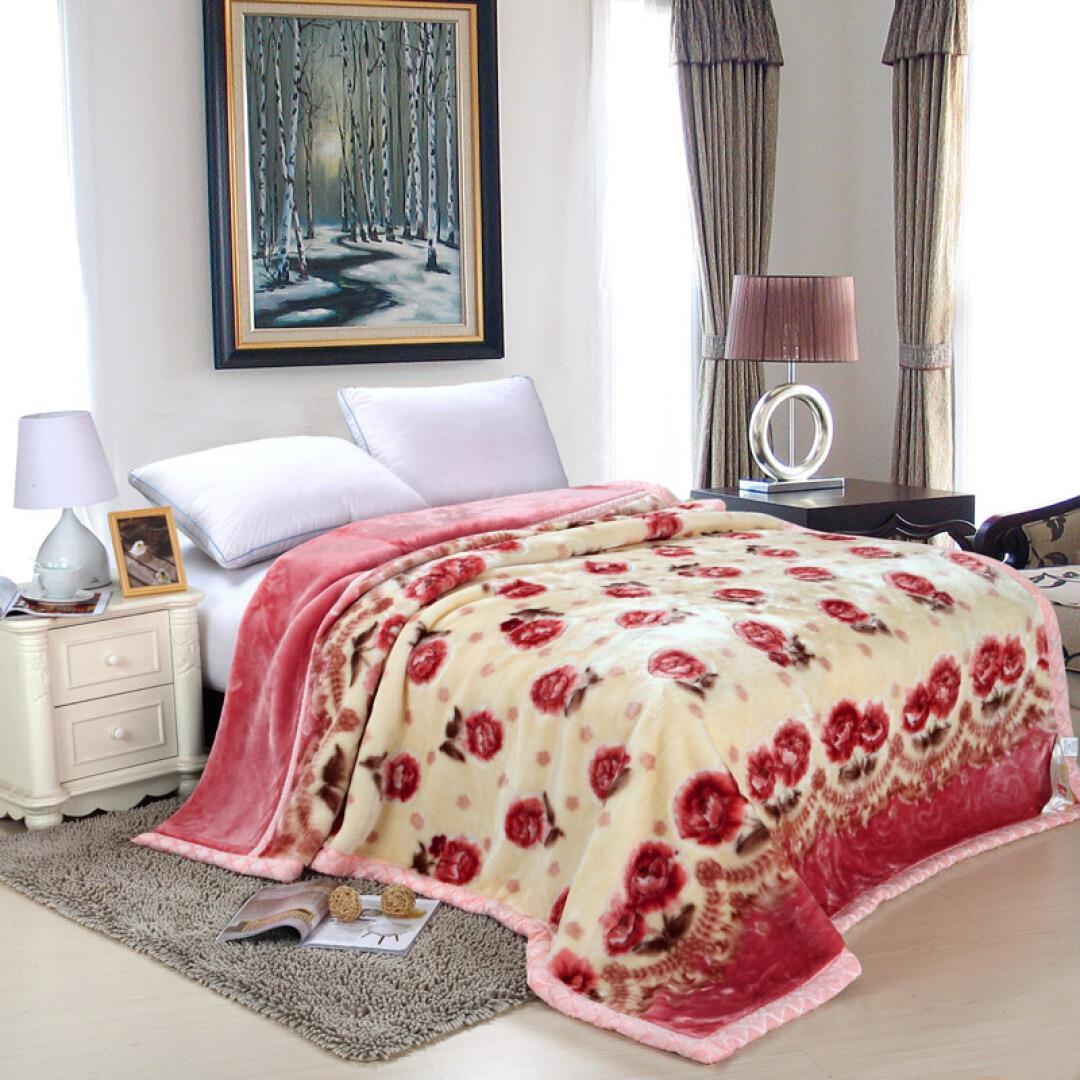家�床品拉舍���p�用�毯/加厚�q毯 �坞p人毛毯毛巾被 花�_朵朵粉