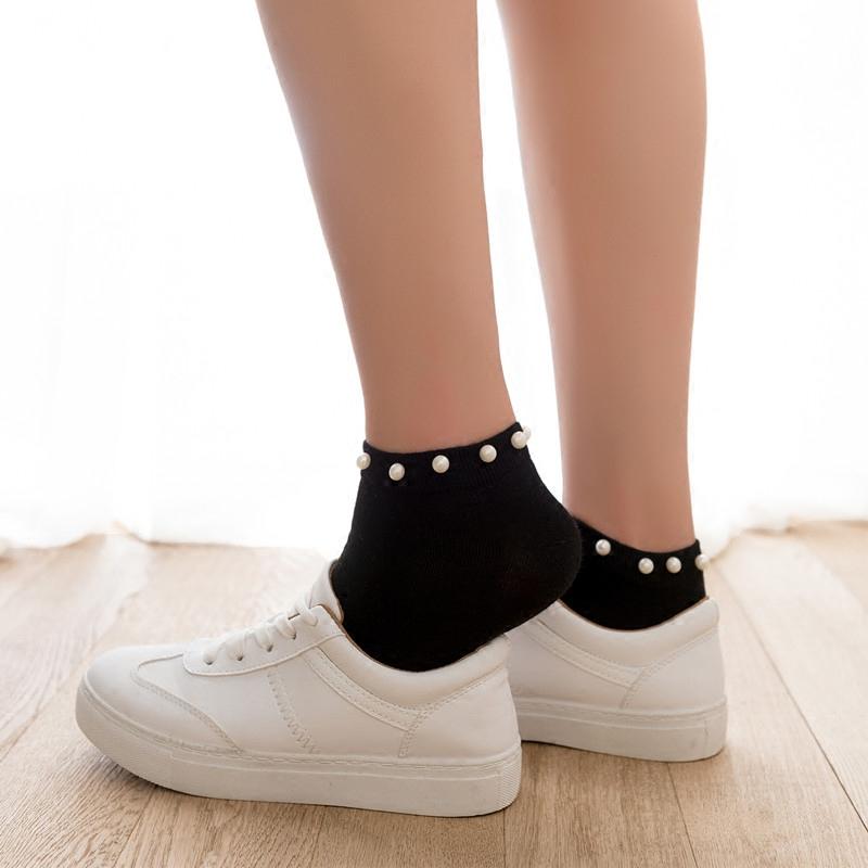 珍珠袜子女日系纯棉短袜铆钉亮珠浅口袜韩国可爱运动袜春夏薄棉袜