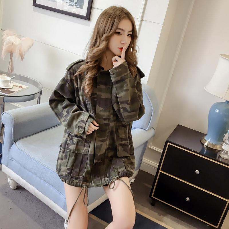 Versatile winter autumn hip hop fashion street thin medium long loose hooded camouflage coat female Korean student BF Harajuku style