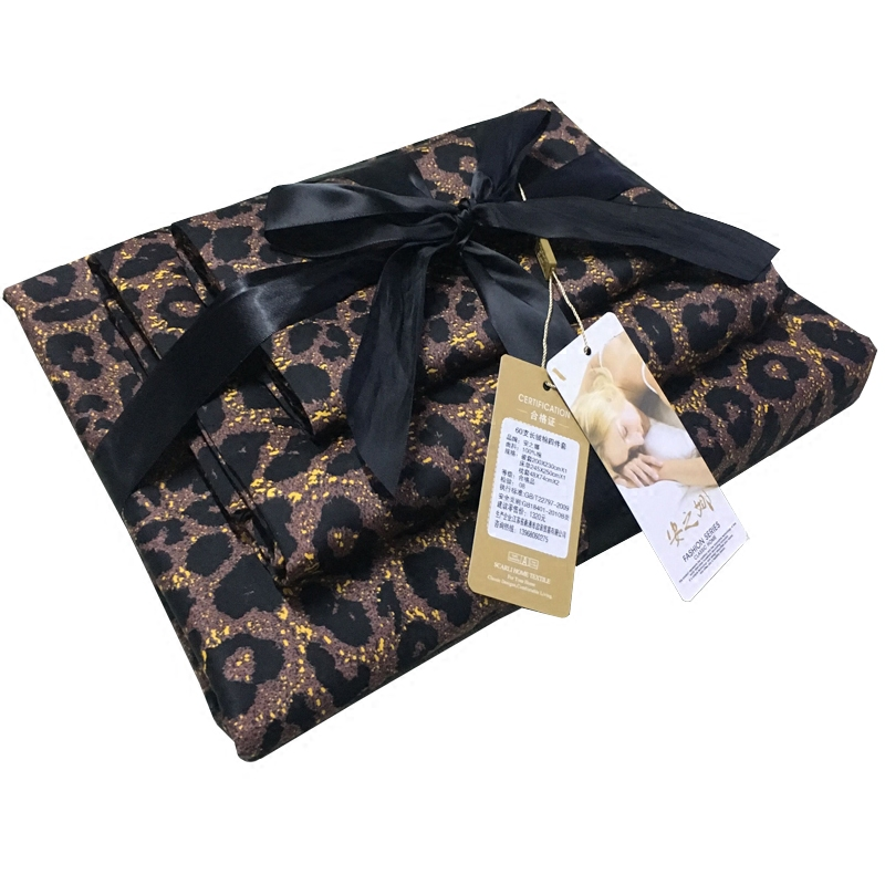 Ode to joy with royal 60s Egyptian cotton long staple cotton leopard print four piece set of pure cotton bedding