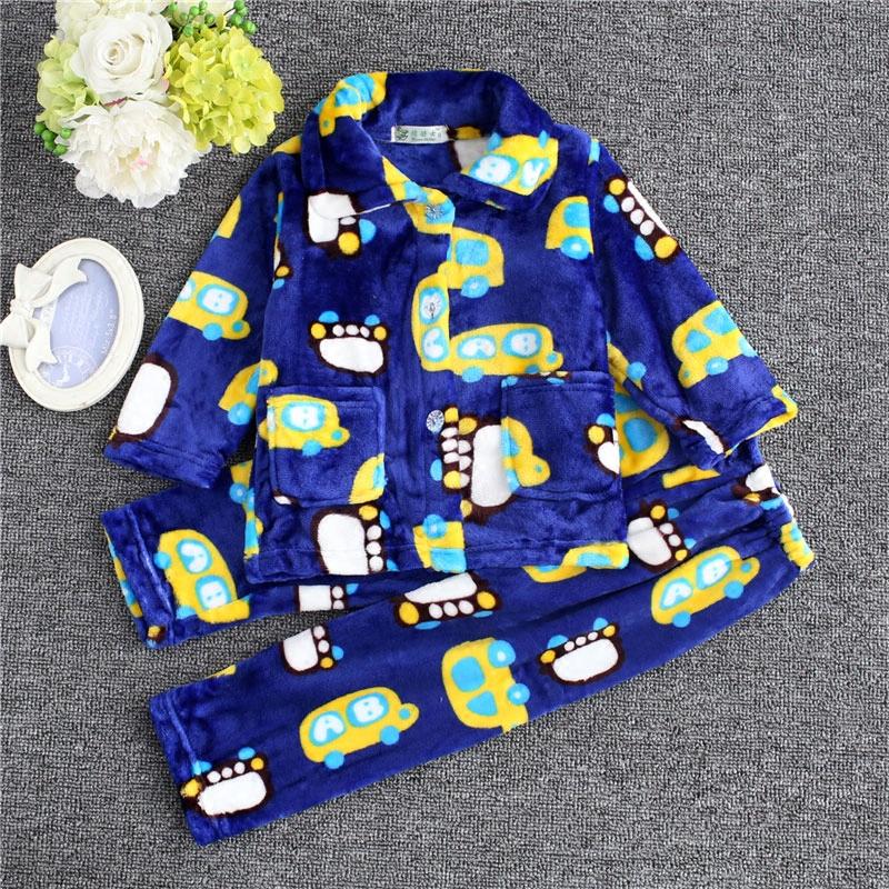 春秋季保暖法兰绒男童睡衣小孩柔软儿童珊瑚绒中大童家居服套装