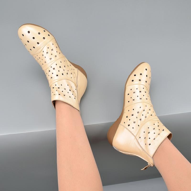 真皮2018新款软皮镂空洞洞鞋子女式短靴子夏天平底凉靴透气少女靴