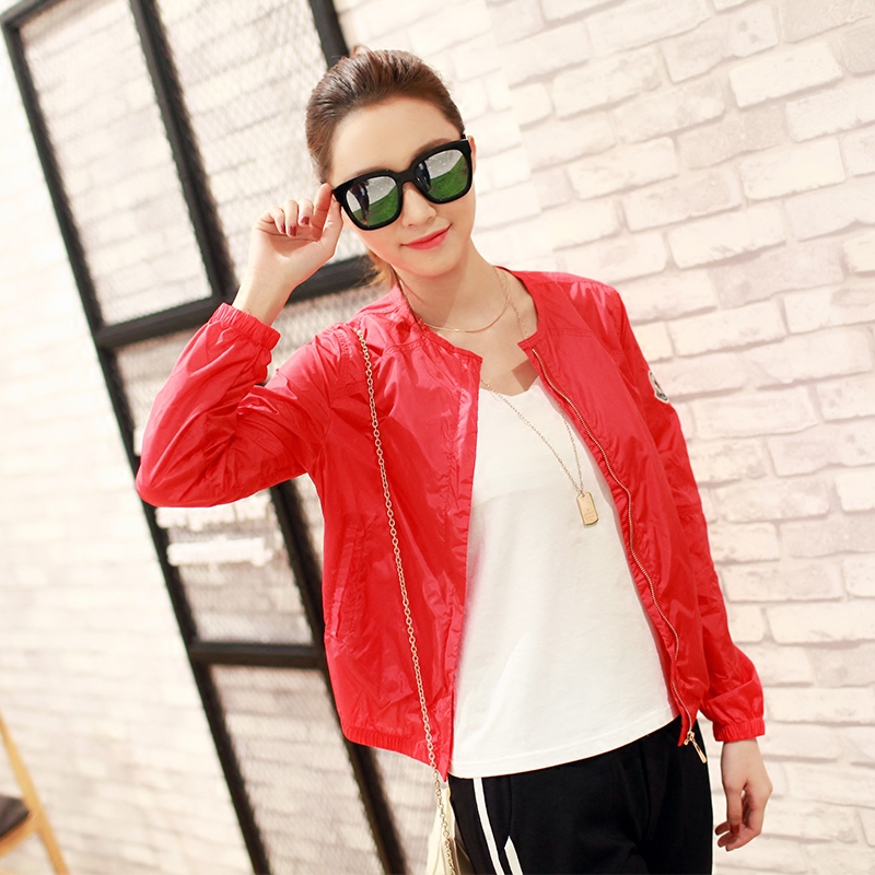 Daily special price sunscreen Jacket Womens slim and breathable skin coat round neck thin coat casual short quick drying clothes