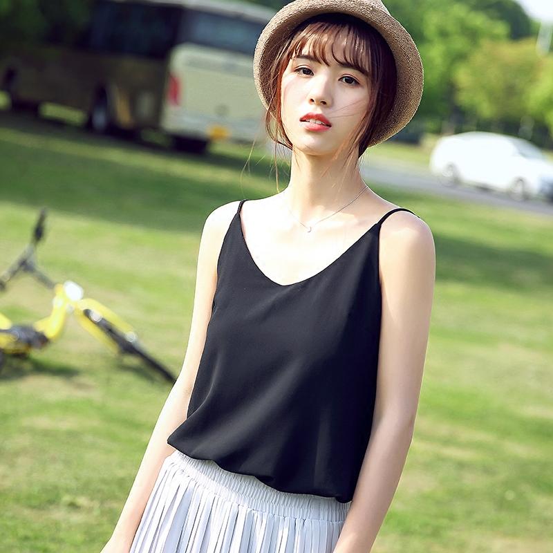 大码吊带背心女雪纺衫V领打底短款夏季内搭百搭显瘦外穿性感上衣