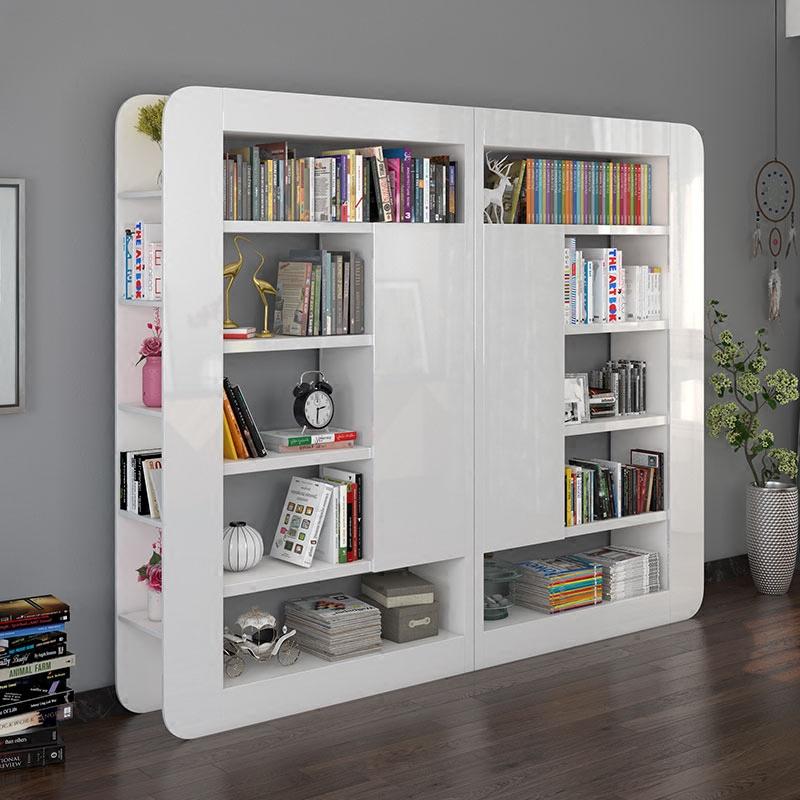 雅舍风情书柜书架自由组合白色书橱四门书柜储物装饰柜转角书柜