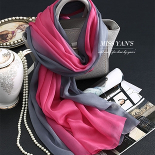 Red gray gradient genuine silk scarves 100 silk female spring and summer and winter super long scarf shawl