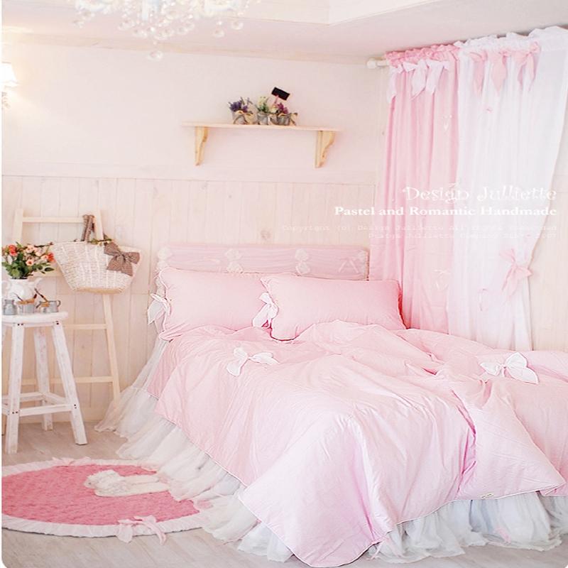 公主粉色蓝色紫色白色床上用品全棉纯棉幻想房间卧室床裙四件套