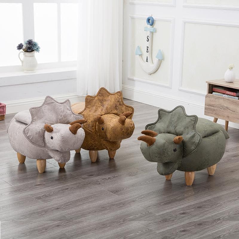 创意实木小凳子恐龙凳子储物矮凳换鞋凳沙发凳设计师家具收纳脚凳