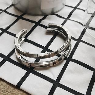 维京战镯莫比乌斯手镯欧美风个性情侣男女粗细款钛钢手镯轮回手环