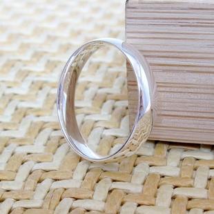 简约光面 纯银戒指999足银男女情侣对戒子白银饰品尾戒小指环食指