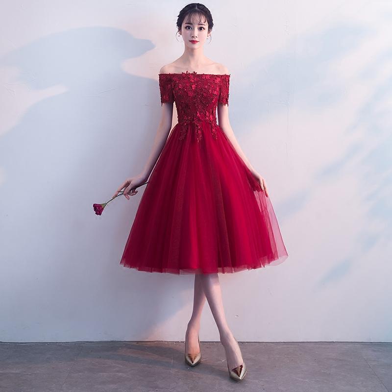 一字肩敬酒服新娘红色2018新款秋季结婚中长款显瘦晚礼服裙短款女