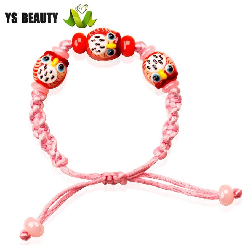 New owl glass Braided Bracelet, diamond rope braided Japanese glass jewelry, pink spring and summer Bracelet