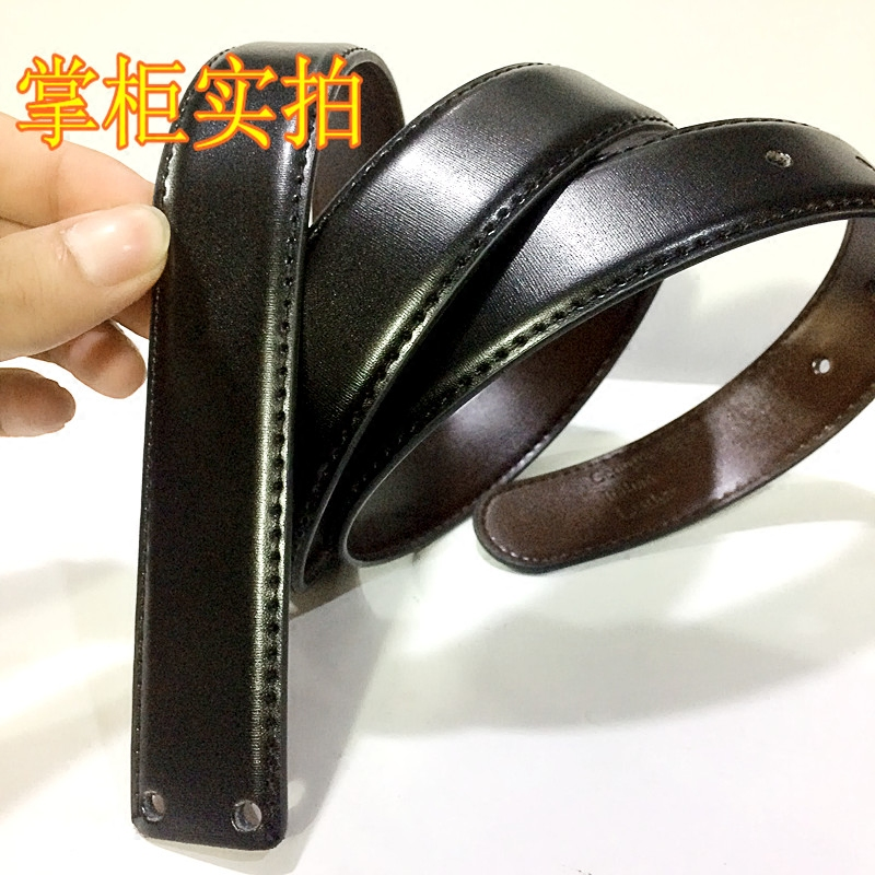 Imported belt body 3.0cm Black / Brown mens leather headless perforated belt strip ultra thin pinhole smooth buckle belt