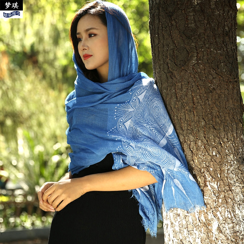 Batik scarves, cotton and hemp national style gifts, hand-painted shawl, plant dyeing, original silk scarves for women