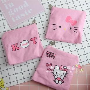 卡通 hellokitty凱蒂貓衛生棉包 純棉零錢包小布包 收納包 手拿包
