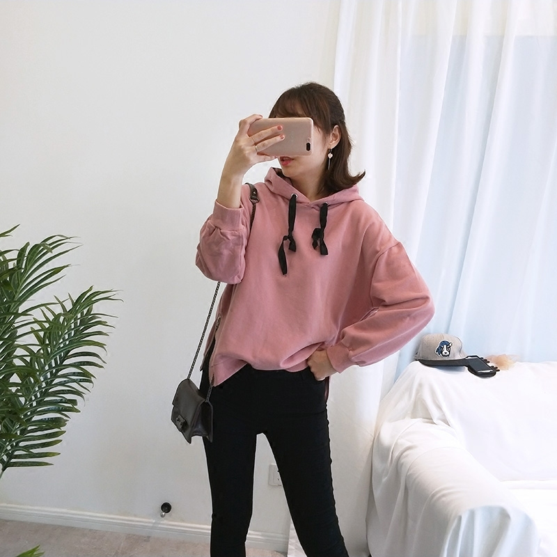 South Korea UUS autumn and winter velvet cotton solid sweater with drawcord side zipper thread cuffs and basic long sleeve Hoodie