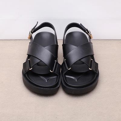 吾本良品 欧美复古交叉带搭扣平跟露趾凉鞋女夏新款罗马厚底凉鞋