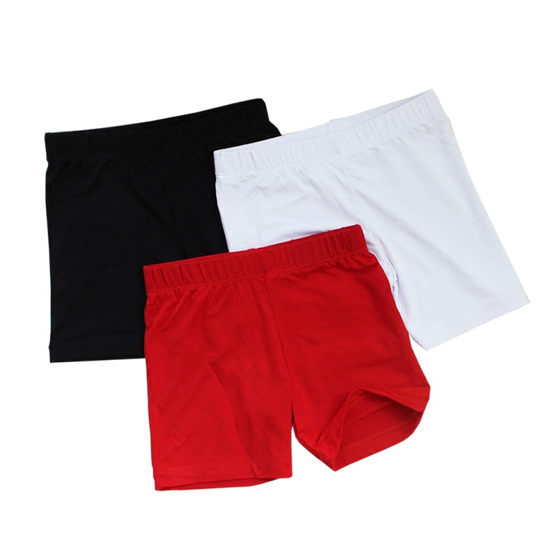 Solid color girls safety pants anti light elastic pure cotton flat angle middle and small childrens four corner Leggings red shorts