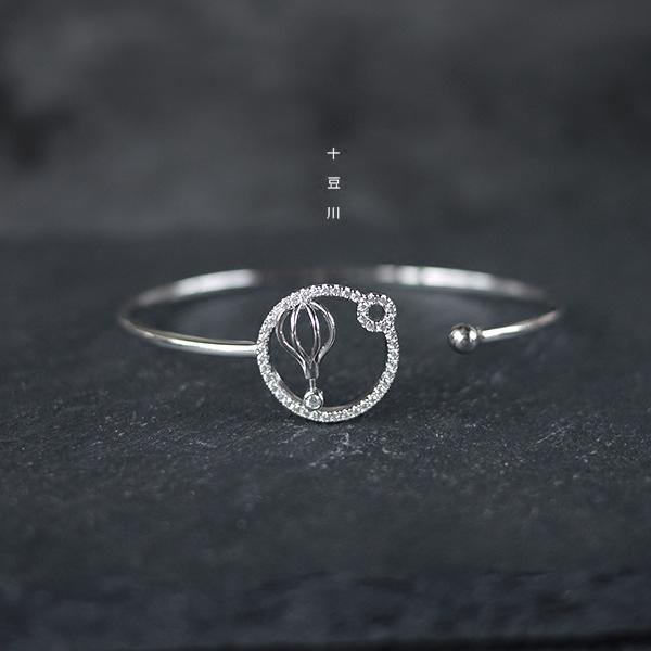 三件5折925纯银开口手镯立体梦幻热气球圆圈微镶童真设计感银饰