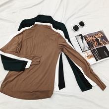秋冬薄款半高领内里打底衫女韩版修身舒适光板长袖T恤百搭上衣