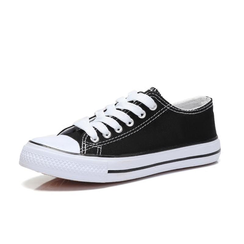 平底白色 低幫學生帆布鞋