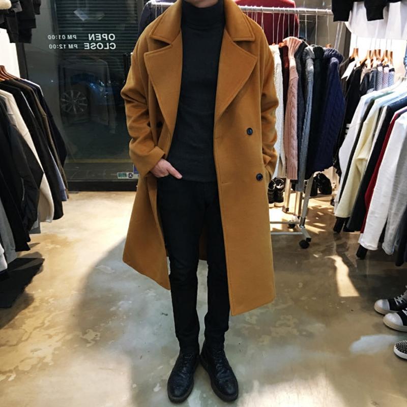 Long wool coat men's cashmere coat double breasted camel long knee length windbreaker men's large youth coat