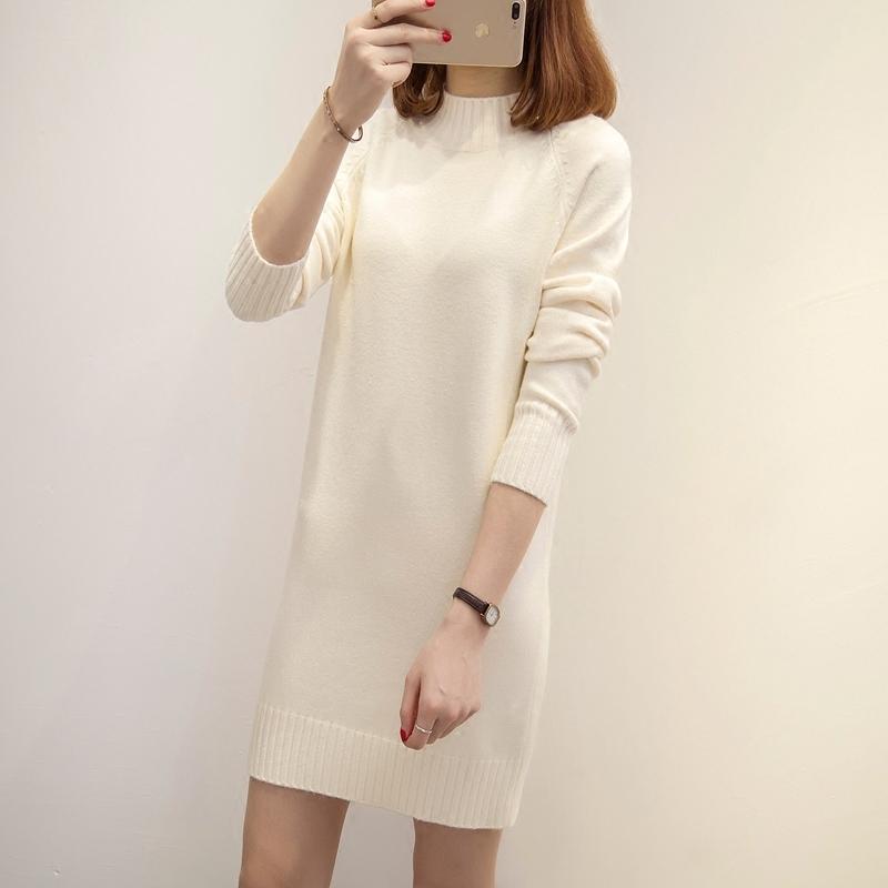 毛衣女秋冬装中长款韩版套头宽松针织衫长袖打底衫百搭半高领外套