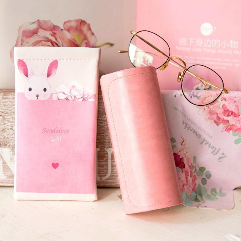近视眼镜盒 太阳镜盒便携轻巧 文艺复古棕色黑色樱粉色 简约包邮