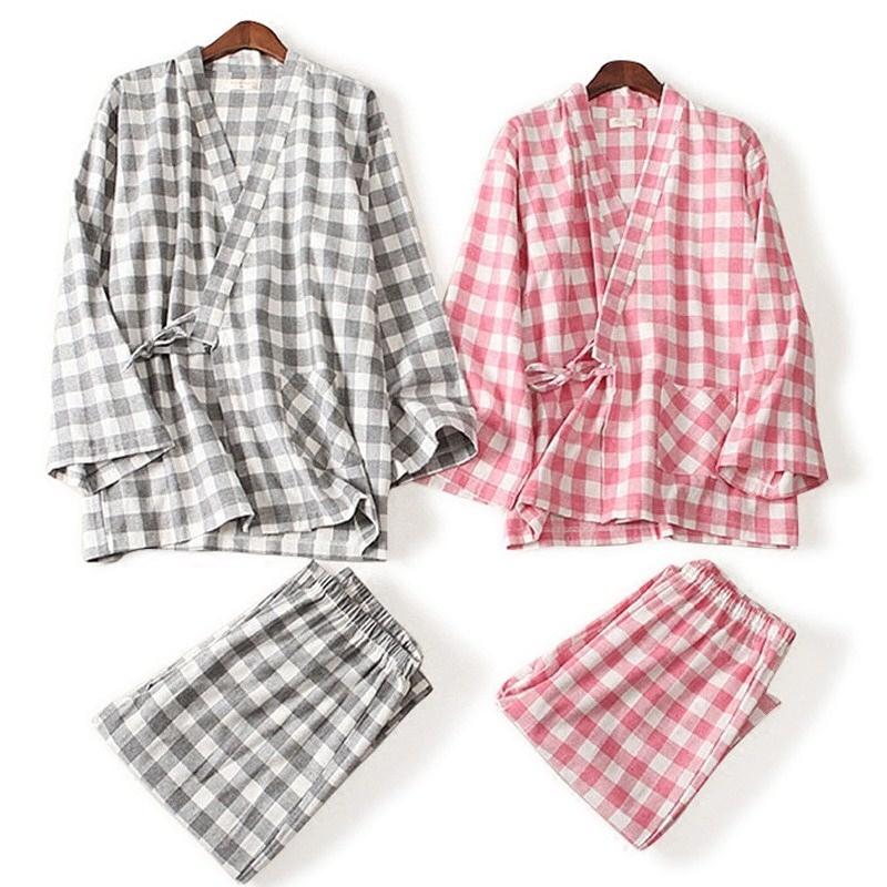 格子甚平和服情侣纯棉长袖睡衣春秋季男女日式和风全棉家居服套装