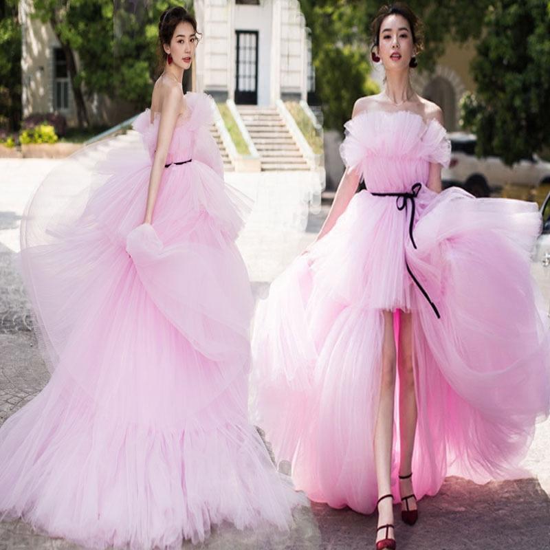 2018新款影楼主题服装街拍旅拍蓬蓬裙粉色拖尾工作室婚纱摄影礼服