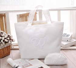 日本东方神起NEWSLIVEWhite大号白色棉布托特购物包单肩环保袋女