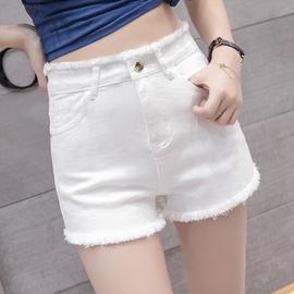白色高腰牛仔短裤女夏季2020新款外穿宽松显瘦弹力a字阔腿热裤子