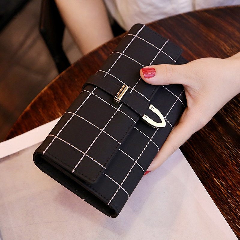 Purse womens long retro frosted bag cover three fold checkerboard wallet with large capacity and multi function