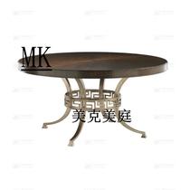 美式轻奢金属实木餐厅圆餐桌美式乡村港式新古典简约现代餐厅餐桌