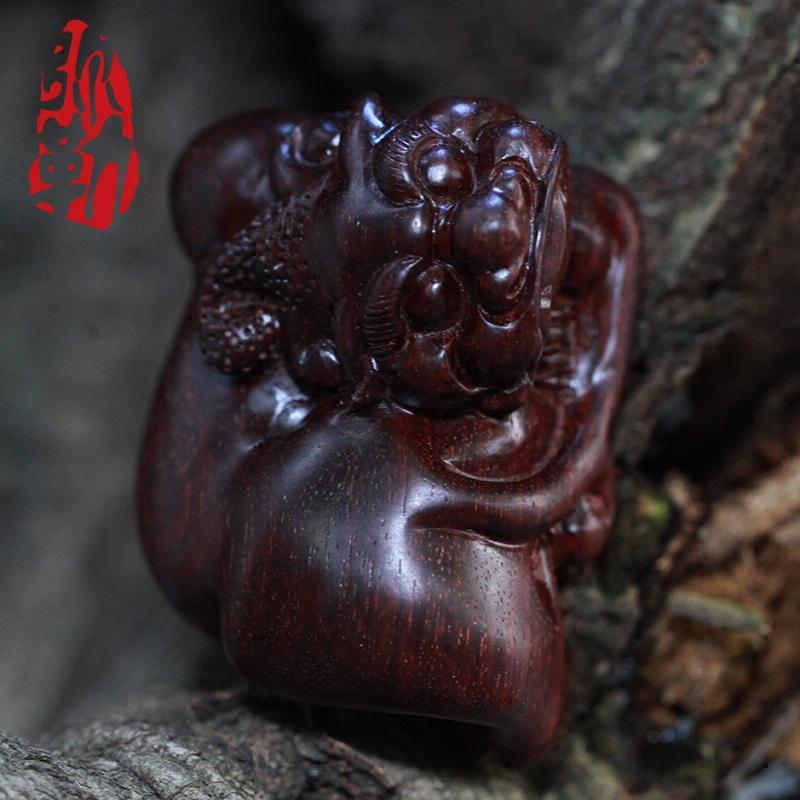 弥勒佛珠 印度老料小叶紫檀招财貔貅手把件茶宠摆件红木手工雕刻
