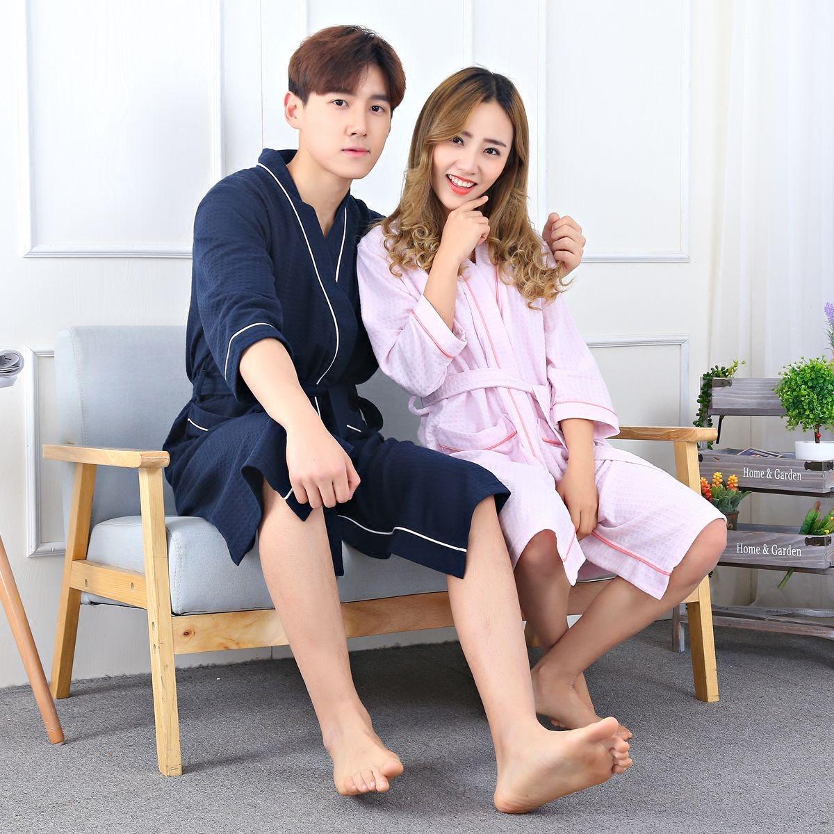 夏の薄手の華夫格浴のガウンの寝衣の男女の7分袖のパジャマの春秋のカップルのホテルの家居服
