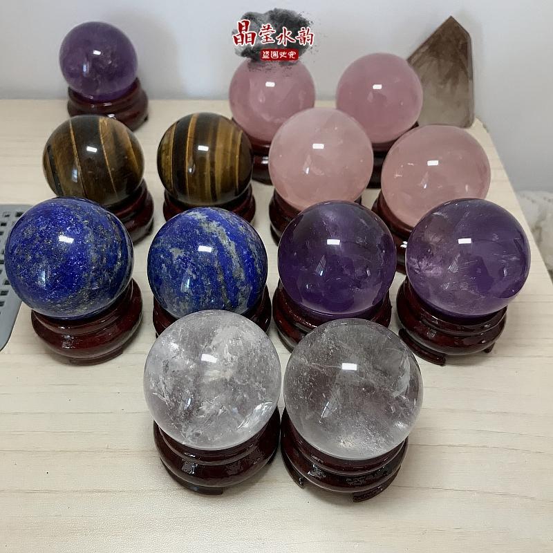 纯天然白水晶球手球摆件粉水晶球紫水晶球虎眼石黑曜石青金石手球 Изображение 1