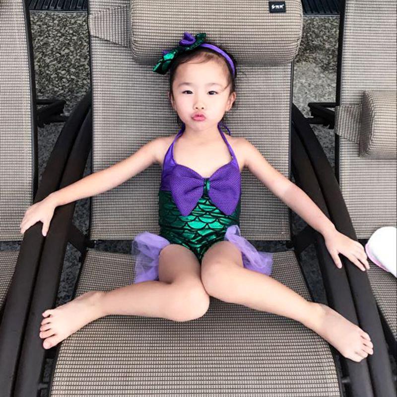 美人鱼服装女宝宝女童连体泳衣公主婴幼儿游泳衣女孩儿童泳装可爱