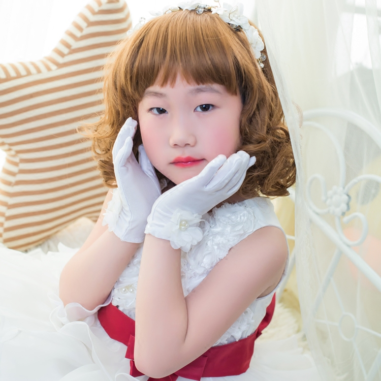 White kindergarten childrens gloves Princess Girls Dance Performance gloves dress gloves lace