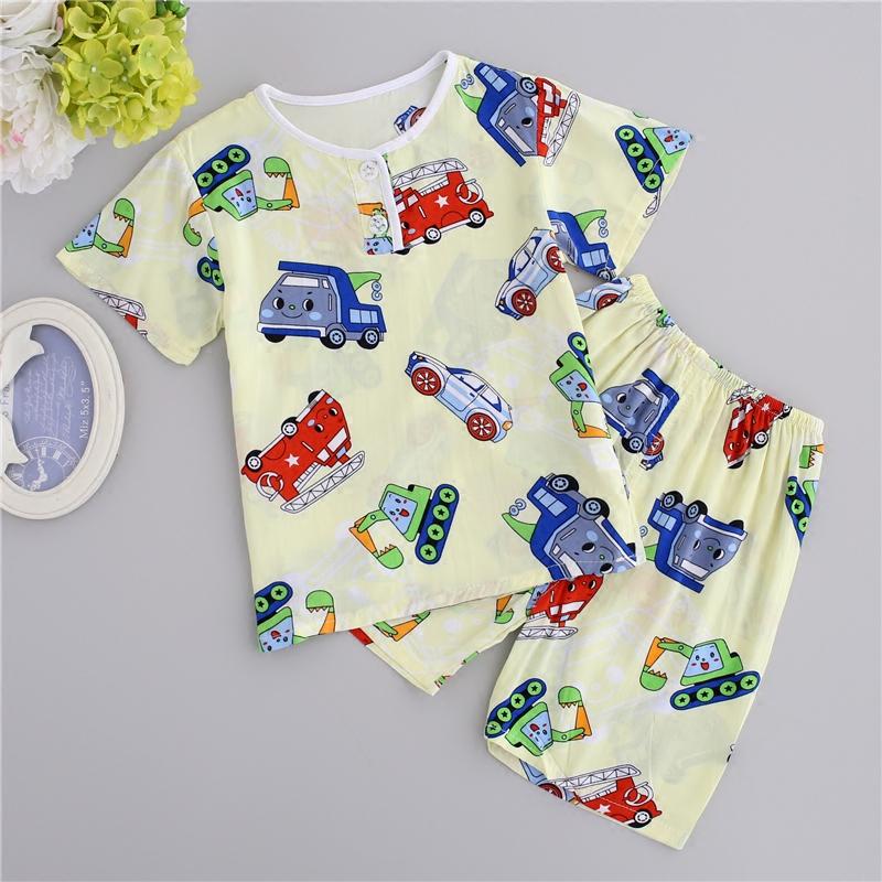Мягкий энди сокровище хлопок шелк с коротким рукавом домой костюм мультики инженерная машина мальчик короткий рукав ребенок хлопок шелк пижама
