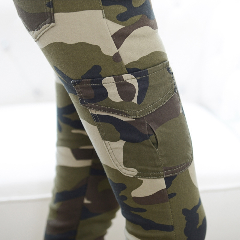 Spring and autumn outdoor leisure camouflage pants womens high waist large size elastic slim fitting work clothes Multi Pocket military pants boots pants womens pants
