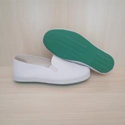 套脚白球鞋小白鞋帆布鞋橡胶底防滑工作白鞋白网鞋男女工作鞋药厂