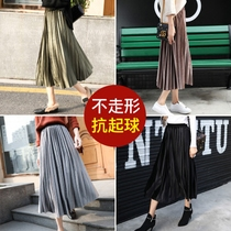 Golden Velvet pleated skirt skirt Autumn Winter Female 2018 new Korean version velvet skirt long skirt high waist medium