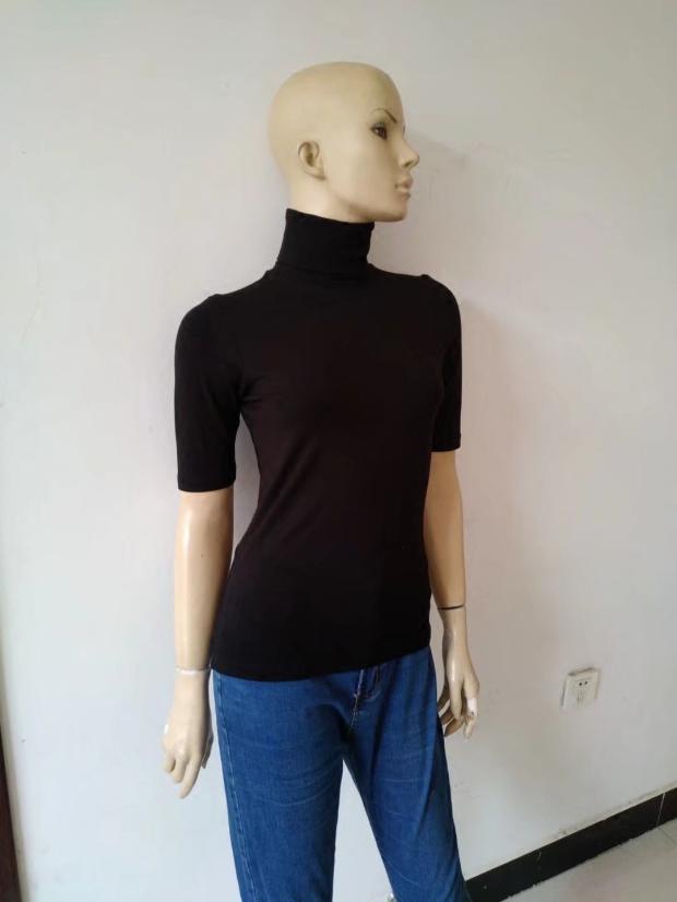 春秋夏季女士新款纯棉包脖子高领五分袖修身T恤不起球打底衫