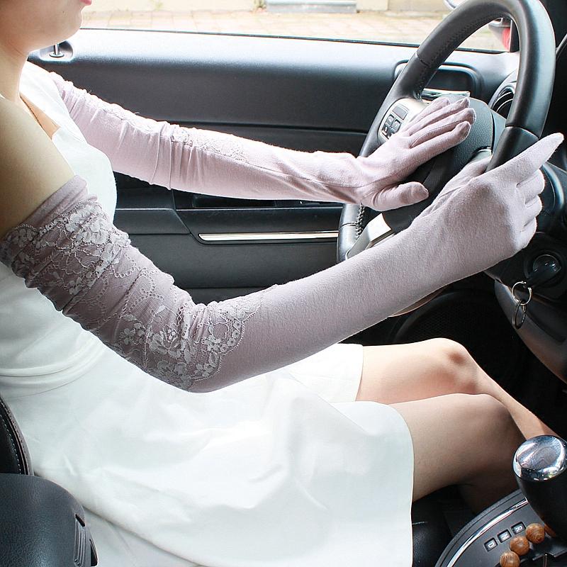 夏季女手臂套袖子全指加长防晒手套夏天开车护臂冰丝袖套遮阳薄款