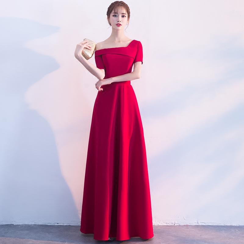 敬酒服新娘2018新款夏季结婚宴会优雅红色公主晚礼服修身显瘦长款